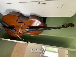 1950s era refurbished double bass with bridge pickup, soft case, bow and stand