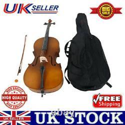 4/4 Maple Basswood Acoustic Cello +Bag+Bow+Rosin+Bridge Brand New Matte Golden