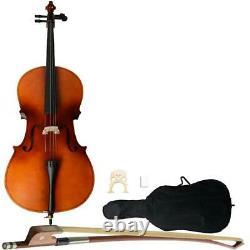 4/4 Size Basswood Matte Cello with Bag+ Bow+ Rosin + Bridge UK