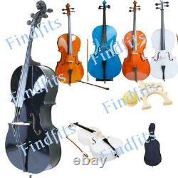 4/4 Size Professional Basswood Acoustic Cello +Bag+ Bow+ Rosin+ Bridge UK