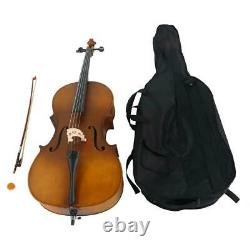4/4 Size Wood Cello for Student Beginners Professional Player Matte Golden