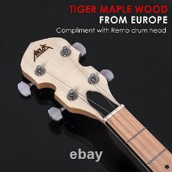 5 String Banjo Open Back Remo Head Banjos 18 Brackets Maple With Gig Bag US Stock