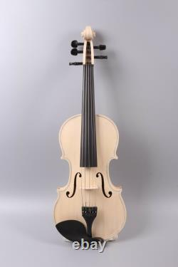 5 string 4/4 violin unfinished White Violin Ebony Fittings Maple spruce wood