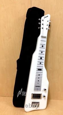 6 String Solid Poplar Body Electric LAP Steel Guitar, White W Bag Haze 217WH
