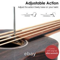 AKLOT Bass Ukulele Lined Fretless Ubass Aquila String E-A-D-G Blackwood withBag