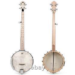 Aklot 5 String Banjo Guitar Open Back Maple 24 Bracket Geared 5th Tuner Arm Rest