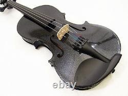Beautiful 4/4 Black Violin(Solid Wood) +Case+ Bow+ Rosin+ Violin String Set