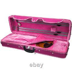 Beautiful Pink Violin Oblong Rectangular Fiddle Case 4/4 Size