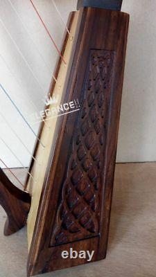Brand New 12 Strings Rosewood Irish Harp, Free Carrying Case & Tunning Key