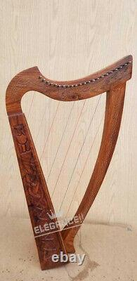 Brand New 22 Strings Rosewood Celtic Irish Harp Free Carrying Case & Tuning Key