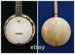 Caraya Concert Size, Flame Maple Resonator Banjo Ukulele, Banjolele+Bag SBJUK-118