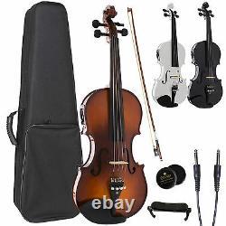 Cecilio Acoustic Electric Ebony Fitted Violin Antique Varnish Black White CVNAE