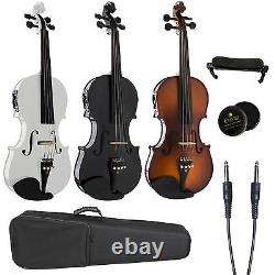 Cecilio Acoustic Electric Violin Ebony Fitted Natural Wood, Black or White