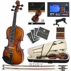Cecilio Size 4/4 Ebony Fitted Orchestra Violin +Book/Video+Tuner 4/4CVN-300