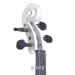 Cecilio Size 4/4 Electric Violin Ebony Fitted White Style2