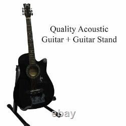 Classic 6 String 4/4 Size 38 Acoustic Guitar Pack With Stand + Accessories