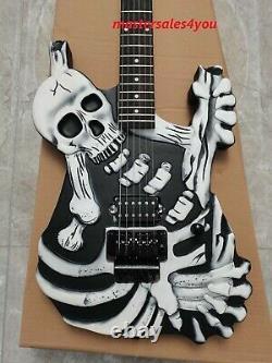 Custom George Lynch Skull and Bones Black Carved Body Electric Guitar 6 String