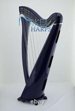 Daisy 34 Strings Lever Harp by Mikel Harps, Blue Finish