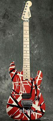 EVH Striped Series 6 String Electric Guitar Red with Black Stripes