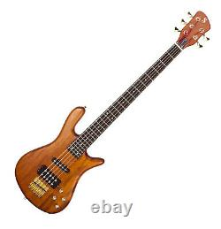 Electric Bass 5 string Guitar Curved body Powered pickups Natural finish by SX