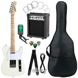 Electric Guitar Set Kit Amplifier Tuner Gigbag Strap Cable Strings Antique White