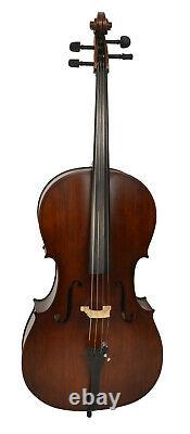 Full Size Cello Set with Case, Bow and Accessories, Ideal for Students/Beginners