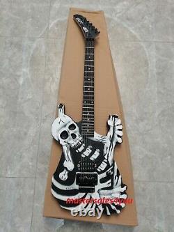 George Lynch's Black Skull Bones Carved Body Guitar Electric 6 String New Neck