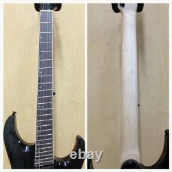 Haze 6FF TBK Fanned-Fret 6-String Electric Guitar, Trans Black+Free Gig Bag, Strap