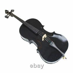 High Quality 4/4 Size Basswood Black Cello with Bag+ Bow+ Rosin + Bridge UK
