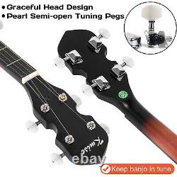 Kmise 5 String Banjo Two-way Truss Rod With Bag Tuner Strap Open Back 39 Inch