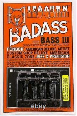 LEO QUAN Badass Bass IIl4-String BassBlackFender PJ Bass4 Bonus SaddlesNew