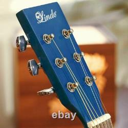 Lindo Standard Sapphire Blue Acoustic Guitar + Gigbag, Tuner, Strings, Strap DVD