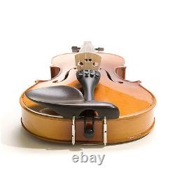 Mendini Solidwood Violin Ebony Fitted +Tuner+Book/Video Size 4/4 3/4 1/2 1/4