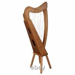 Muzikkon 19 String Boru Harp, Irish Walnut Celtic Harps with levers beginners