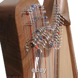 Muzikkon 28 String Claddagh Walnut Harp, Quality Celtic Harp with Levers Sale