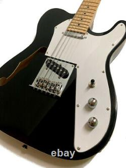 New 12 String Semi-hollow Gloss Black Thinline Tl Style Electric Guitar