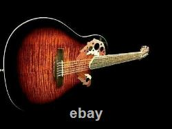 New Acoustic Electric 12 String Round Back Guitar Maple Top Flame Finish