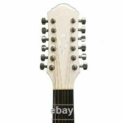 Oscar Schmidt OD312CEWH 12-String Dreadnought Acoustic Electric Guitar, White