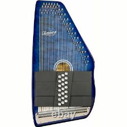 Oscar Schmidt OS21CQTBL 21 Chord Autoharp with Quilted Maple Top, Trans Blue