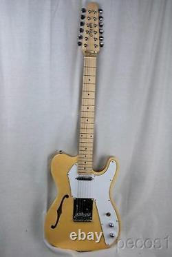 Pick It-new 12 String Semi-hollow Tele Electric Guitar-blue, Natural, White