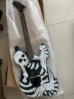 Unique Electric Black Skull Guitar Carved Bones Body 6 String W New String