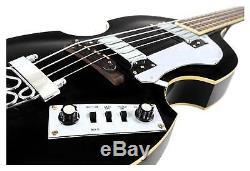 Vintage Electric Bass Guitar Violin Bass Beatbass 4 Strings High Polish Black