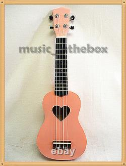 WOODNOTE 21 Sweet Pink with Heart Hole Soprano Wooden Ukulele & Carrying Bag