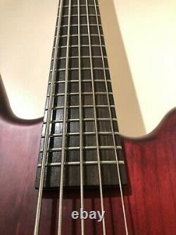 Warwick Corvette 5 string bass RockBass burgundy