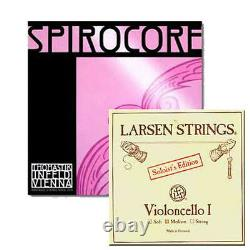 YDC Cello Strings Set 4/4 Spirocore Tungsten G, C -Larsen Soloist A, D Medium